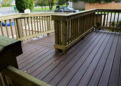 Deck made with composite and treated lumber