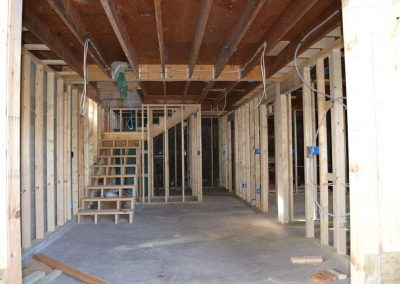 Walls and stairs built in basement